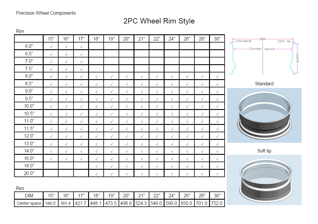 2PC Wheel Rim Style